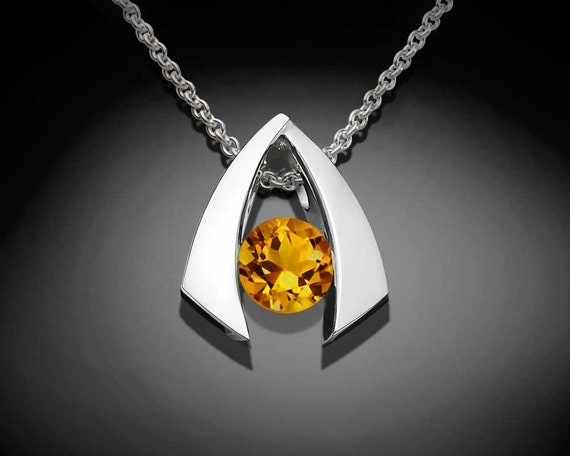 citrine necklace, citrine pendant, November birthstone, Argentium silver pendant, gemstone jewelry, tension set, yellow gemstone- 3424