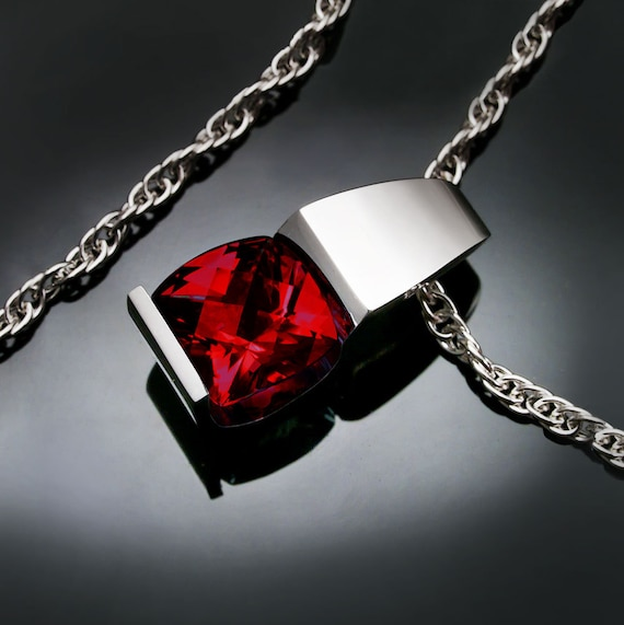 January birthstone - garnet necklace - Mozambique garnet - red - eco-friendly - Argentium silver - modern jewelry - 3431