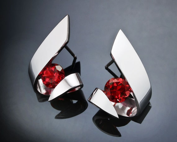 garnet earrings, January birthstone, Mozambique garnet, red earrings, holiday earrings, Argentium silver, contemporary jewelry - 2440
