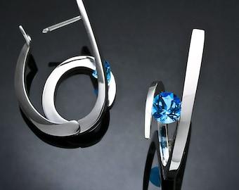 Swiss blue topaz earrings, hoop earrings, December birthstone, wedding earrings, statement jewelry, hinged backs, fine jewelry - 2429