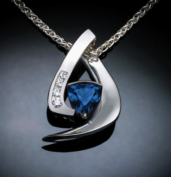 elegant London blue topaz necklace, December birthstone, Argentium silver, white sapphires, Christmas gift -  3369