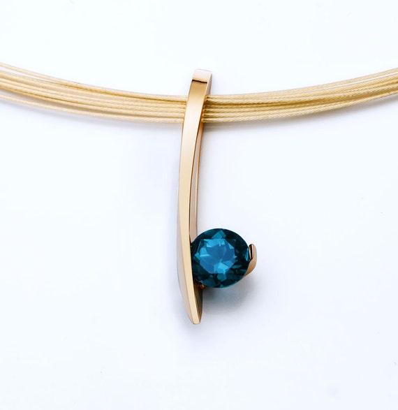 14k gold pendant, London blue topaz necklace, blue topaz pendant, December birthstone, artisan necklace, fine jewelry, gifts for her - 3458