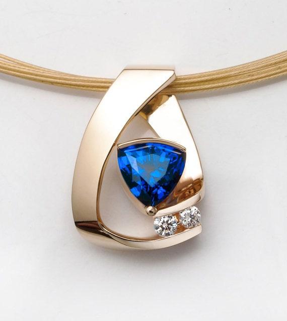 14k yellow gold necklace, Chatham blue sapphire, diamond necklace, anniversary gift, September birthstone, fine jewelry, artisan - 3452