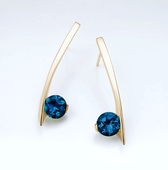 14k gold earrings, London blue topaz, December birthstone, dangle earrings, Christmas gift, artisan jewelry, luxury gift - 2458