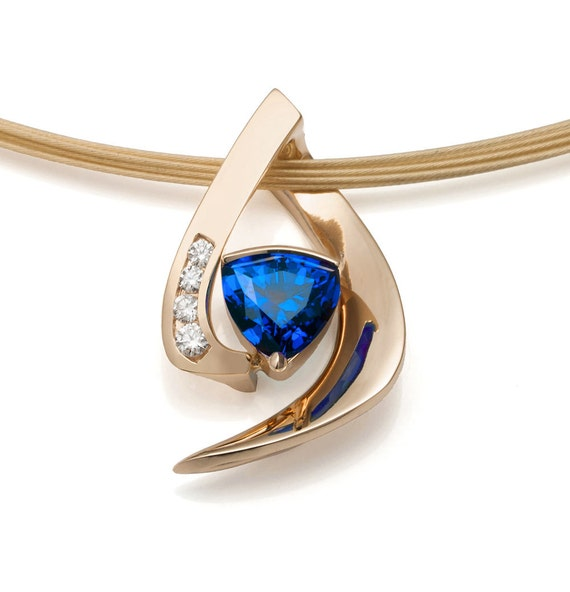 Gold, blue sapphire and diamond pendant, Chatham blue sapphire, September birthstone - 3369