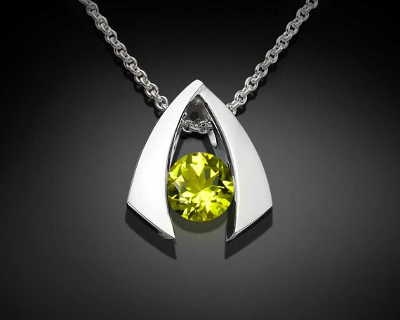 peridot necklace, peridot pendant, August birthstone, gemstone jewelry, green necklace, eco friendly silver, delicate necklace - 3424