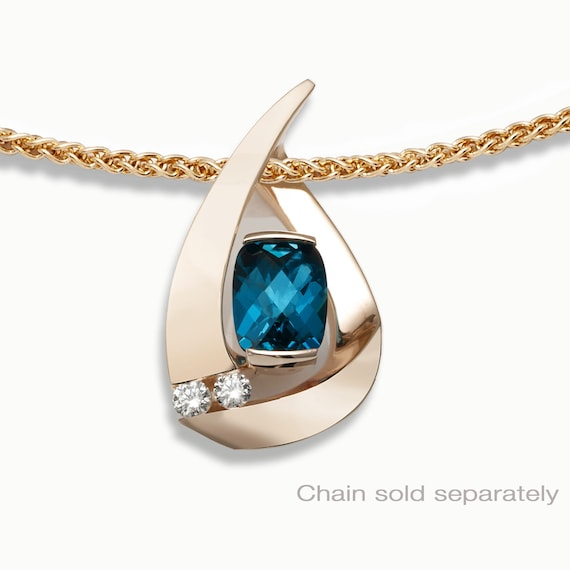 14k gold London blue topaz pendant & diamond pendant, CHAIN SOLD SEPARATELY, December birthstone, luxury gift for her - 3378