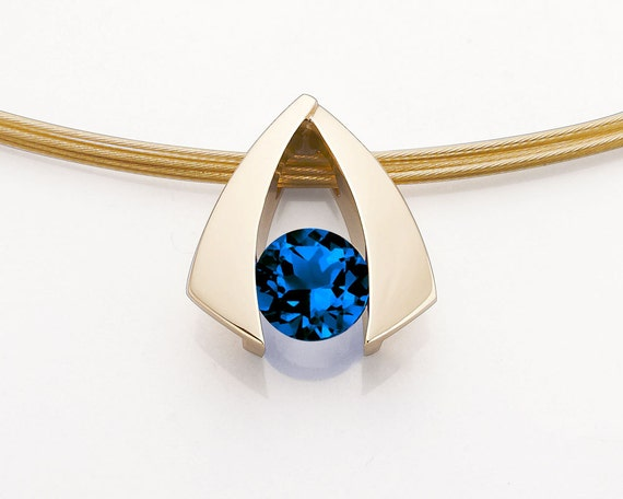 gold pendant, blue sapphire, 14k yellow gold necklace, September birthstone, 5th anniversary gift, Chatham sapphire -3424