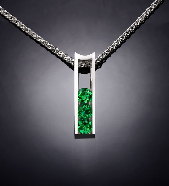 green topaz necklace, silver jewelry, Argentium silver pendant, modern necklace, Christmas necklace, green gemstones, artisan gift - 3503