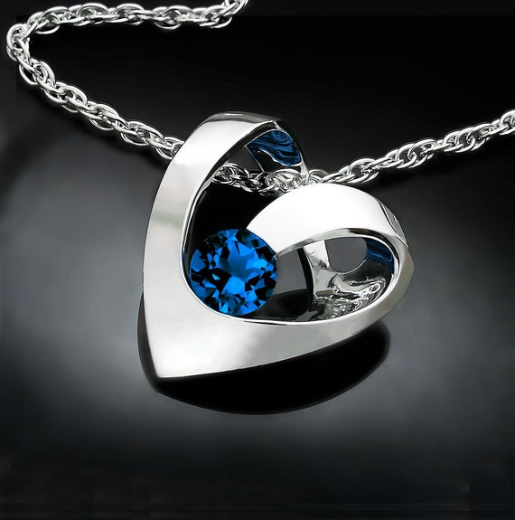 Blue sapphire heart necklace in silver, September birthstone, eco friendly pendant - 3401