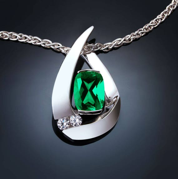 emerald necklace, emerald pendant, May birthstone, Chatham lab grown emerald, white sapphires, Argentium silver, 3378