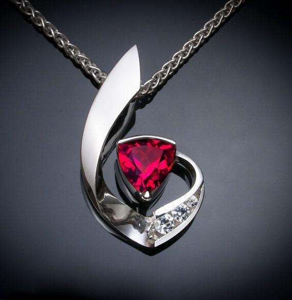 ruby necklace, ruby pendant, white sapphire necklace, Chatham ruby, July birthstone, 15th anniversary gift, contemporary pendant  - 3466