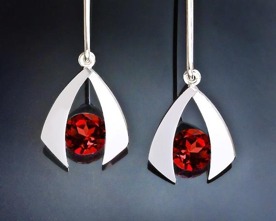 garnet earrings, January birthstone,red earrings, dangle earrings, gemstone jewelry, eco-friendly,  Argentium silver, drop earrings - 2424