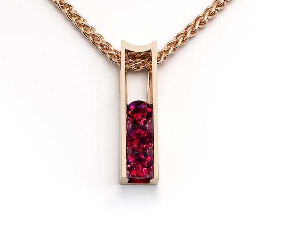 Ruby and 14k gold pendant, Christmas gift, July birthstone, lab created ruby - 3503