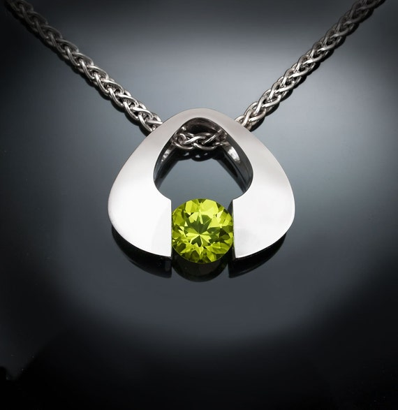 peridot necklace, August birthstone, Argentium silver, eco-friendly, green gemstone, modern necklace, gemstone jewelry - 3423