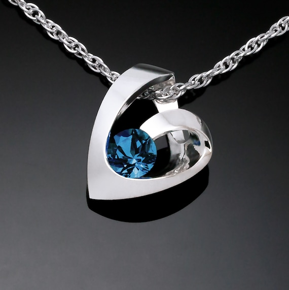 London blue topaz heart necklace, Argentium silver, Valentine gift, December birthstone, modern heart necklace - 3501