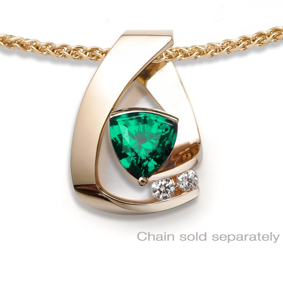 14k gold, emerald and white sapphire pendant, May birthstone, 20th anniversary, Chatham lab created emerald, fine jewelry - 3452