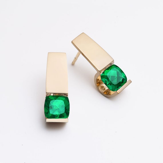14k gold earrings, emerald earrings, Chatham emeralds, Christmas gift, contemporary jewelry - 2431
