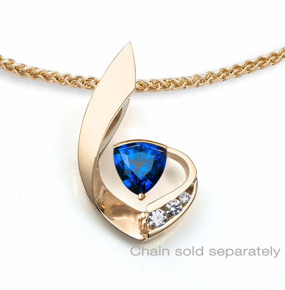 14k gold, blue sapphire with white sapphire side stones, September birthstone, Chatham lab created blue sapphire, artisan design - 3466