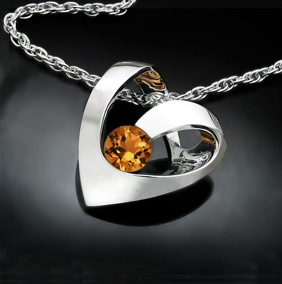 citrine necklace, heart necklace, November birthstone, valentine necklace, yellow necklace, gemstone jewelry, for her - 3401