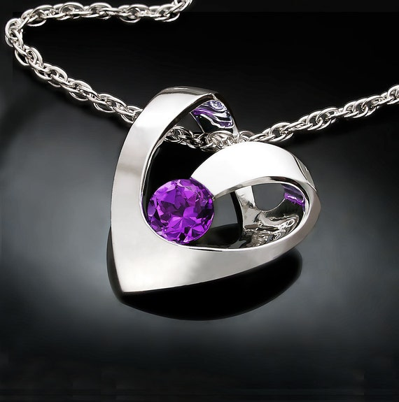 amethyst necklace, heart necklace, February birthstone necklace, valentine necklace, argentium silver, artisan - 3401