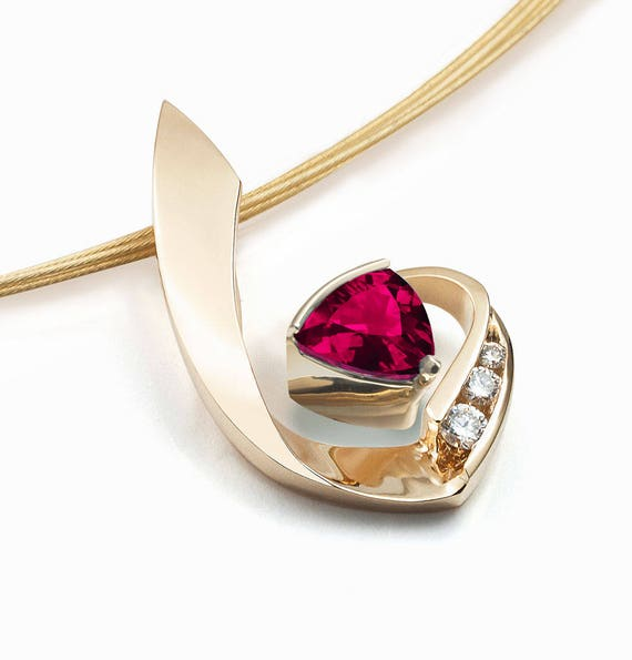 ruby necklace, July birthstone, 14k gold pendant, diamond necklace, Chatham ruby, fine jewelry, artisan necklace, designer jewelry - 3466
