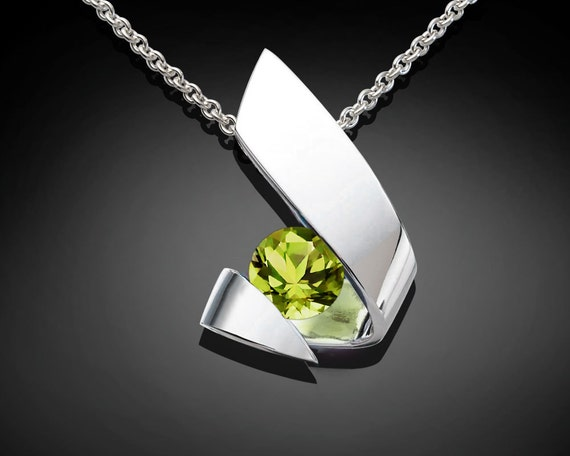 peridot pendant, August birthstone, silver necklace, contemporary necklace, gemstone jewelry, unique necklace, for her - 3440