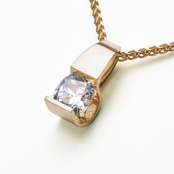 gold pendant, 14k yellow gold pendant, CZ pendant, yellow gold contemporary jewelry, fine jewelry, cubic zirconia , diamond substitute 3431