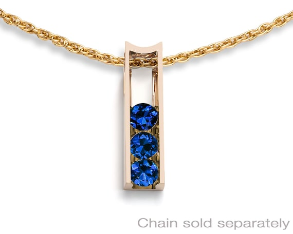 Blue sapphire and 14k yellow gold pendant, CHAIN SOLD SEPARATELY, September birthstone, 5th anniversary gift - 3503