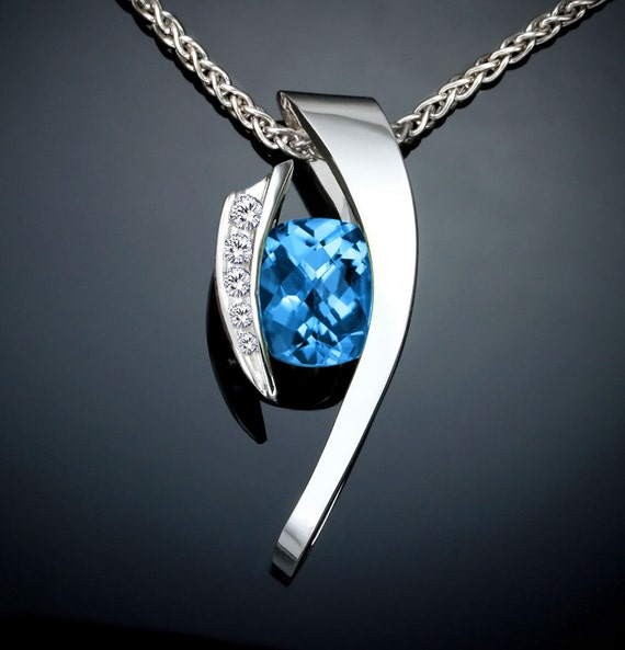 swiss blue topaz necklace, statement necklace, December birthstone, Argentium silver, white sapphire pendant, bold necklace - 3374