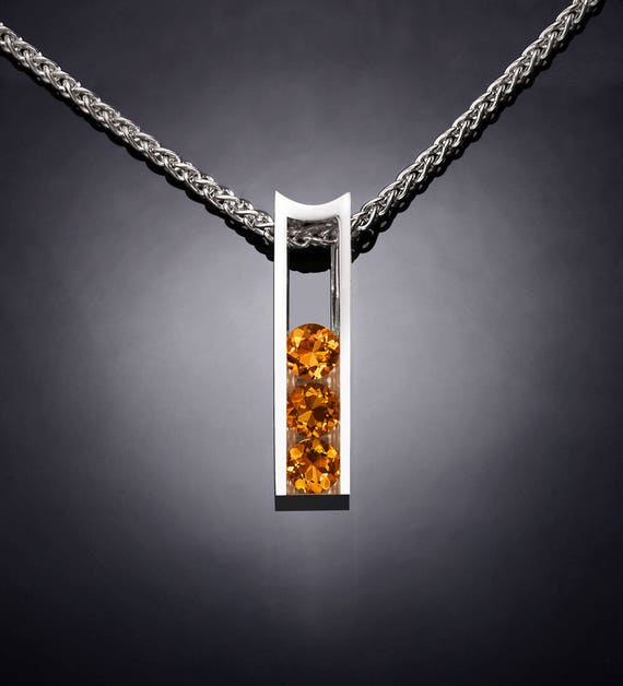 citrine necklace, November birthstone,  Argentium silver, eco-friendly - 3503