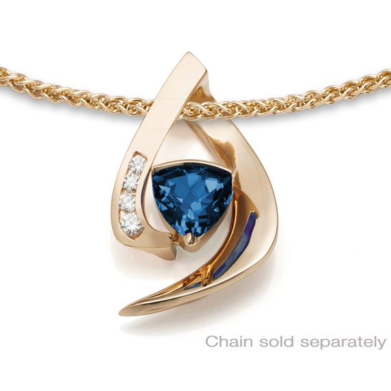 14K gold, London blue topaz and white sapphire pendant, December birthstone, contemporary jewelry - 3369