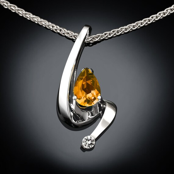 citrine necklace, November birthstone, white sapphire, birthday gift, gemstone necklace, November birthday, Argentium silver,pear shape 3380
