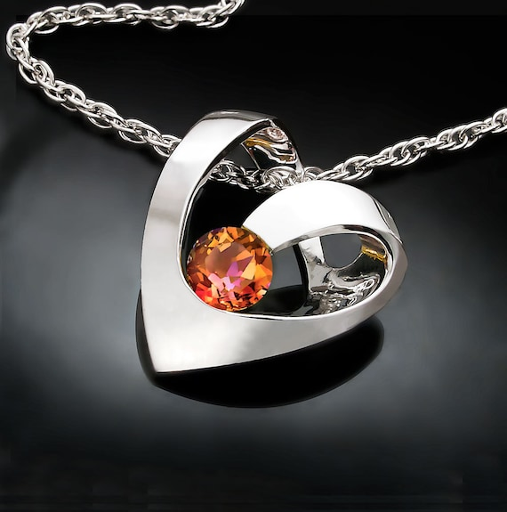 heart pendant, mystic topaz necklace, mystic topaz pendant, designer jewelry,  Argentium silver, unique necklace, for her - 3401