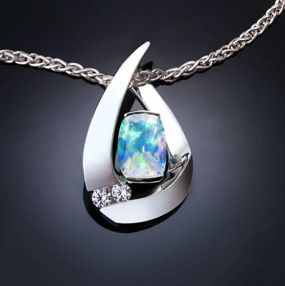 opal and white sapphire necklace in Argentium silver, October birthstone necklace - 3378