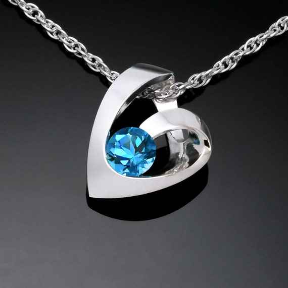 Swiss blue topaz heart pendant, heart necklace, Argentium silver, valentine gift, December birthday - 3501