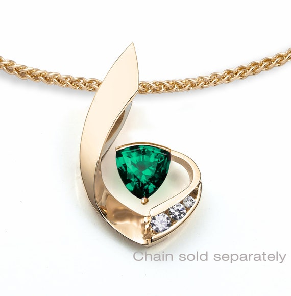 14k gold necklace, emerald necklace, white sapphires, May birthstone, fine jewelry, green gemstone, Chatham lab created emerald - 3466