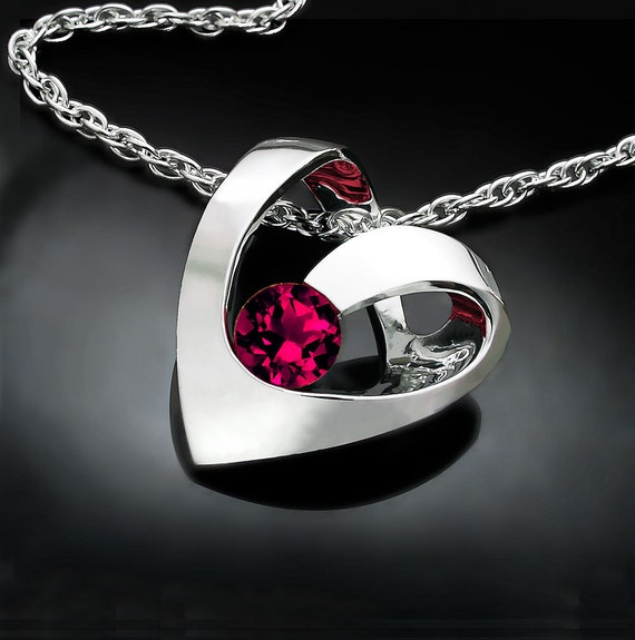 Modern ruby heart necklace in silver, July birthstone pendant, tarnish resistant Argentium silver, 40th anniversary gift - 3401