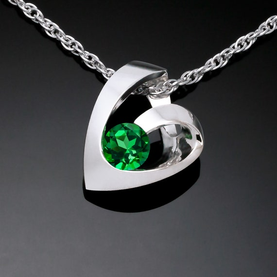 silver heart with green topaz necklace, Valentine necklace, heart necklace, artisan jewelry - 3501