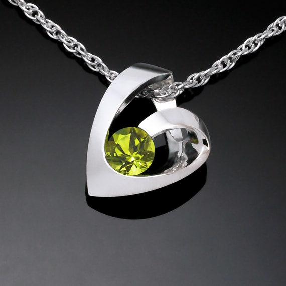 peridot heart necklace, August birthstone, Argentium silver heart, Valentine pendant, modern heart design - 3501