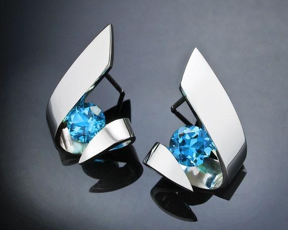 Swiss blue topaz earrings, December birthstone, Argentium silver, wedding earrings, eco-friendly, gemstone earrings, for her - 2440