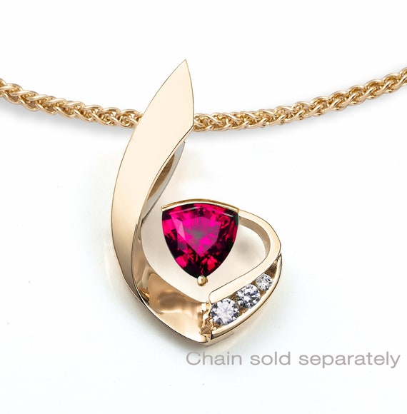 ruby and 14k gold pendant, July birthstone, white sapphires, Chatham ruby, 14k yellow gold, fine jewelry, designer jewelry - 3466
