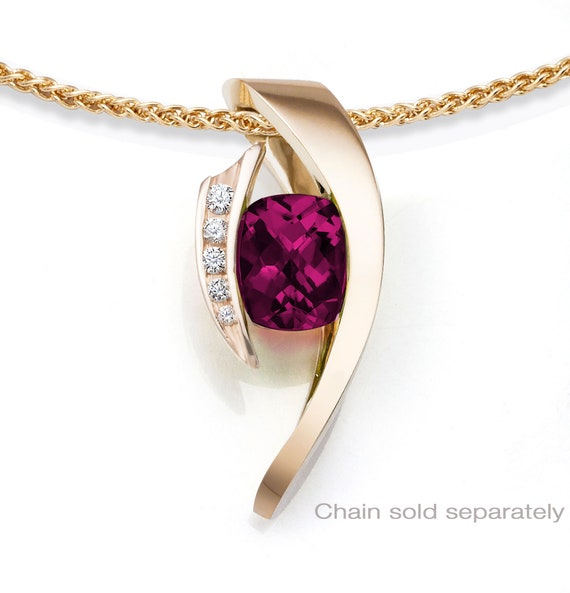 14kt yellow gold necklace, Rhodolite garnet pendant, white sapphire necklace, January birthstone, statement necklace - 3374
