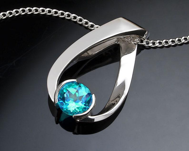 turquoise blue topaz pendant eco-friendly Argentium silver pendant modern jewelry blue topaz necklace December birthstone 3470