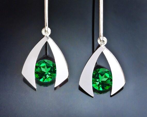 green topaz drop earrings, silver earrings, green topaz earrings, eco-friendly, modern earrings, dangle earrings, tension set - 2424