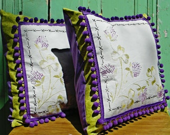 Throw Pillow Covers Upcycled Vintage Clover Embroidery with Pom Pom Trim Green Purple