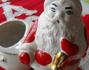 Vintage Santa Planter Figure Ceramic