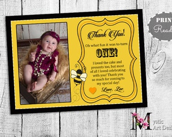 Honey Bee Baby Thank you cards, First Birthday Invitation, Printable, Customized, first birthday thank you notes