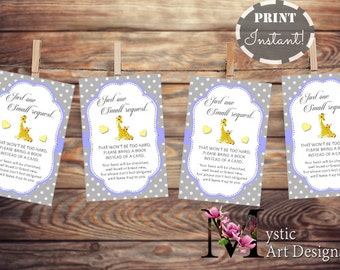 Bring a book instead of a card / bring a book baby shower insert / book request / giraffe boy baby shower / PDF / INSTANT DOWNLOAD