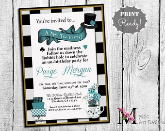 mad hatter tea party birthday invitation printable customized tea party birthday alice in wonderland birthday